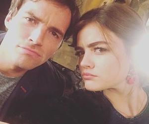 lucy hale, ian harding, and pll image