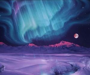 aurora borealis, beautiful, and moon image