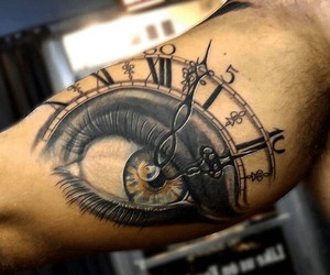 clock, eye, and spire image