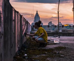 art, graffiti, and sunset image
