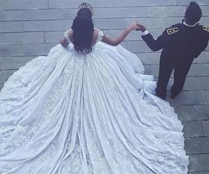 couple, wedding, and dress image
