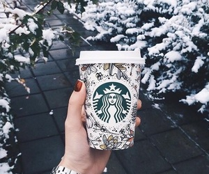 coffee, snow, and starbucks image