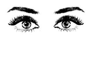 black, eyes, and white image