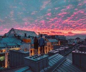 sky, couple, and sunset image