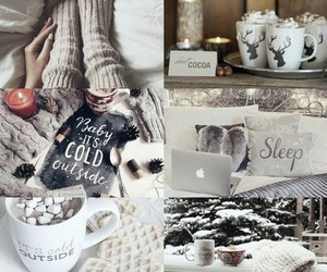 snow, winter, and hot chocolate image