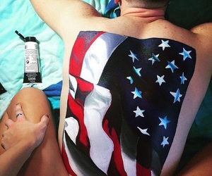 body painting, painting, and usa flag image