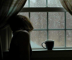 girl, rain, and window image