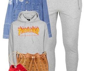 jean jacket, Polyvore, and thrasher image