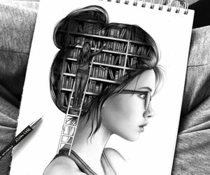 black and white, book, and drawing image