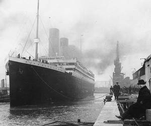 titanic, black and white, and ship image