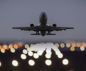 airplane, travel, and light image