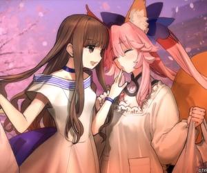 fate extra, hakuno kishinami, and tamamo no mae image