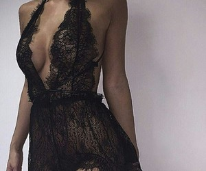 black, lingerie, and sexy image