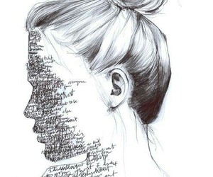 art, girl, and words image