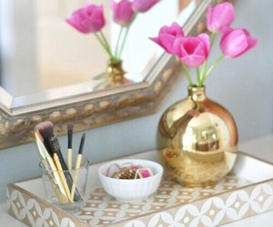 decor, flowers, and gold image