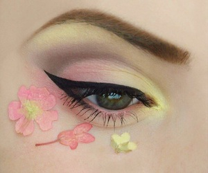 makeup, pink, and flowers image
