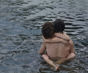 body, couple, and river image