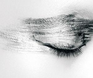 black and white, eye, and makeup image