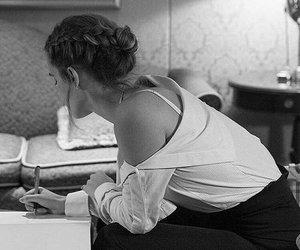 emma watson and black and white image