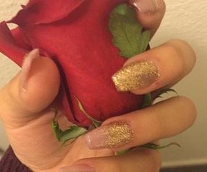 glitter, gold, and nail image