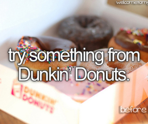 before i die, donuts, and drink image