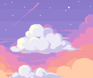 aesthetic, clouds, and pixel image