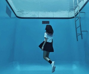 girl, water, and blue image