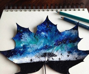 art, leaves, and blue image