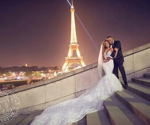 adrienne bailon, couple, and eiffel tower image