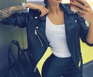 fashion, leather, and tattoo image