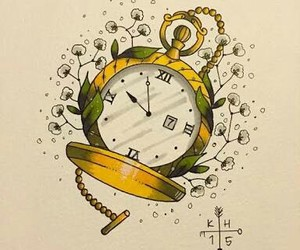 clock, drawing, and tattoo image