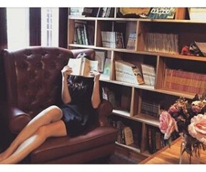 books, bookshelves, and chair image
