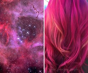 hair, galaxy, and pink image