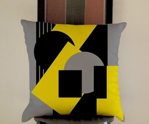 abstract, geometrical, and pillow case image