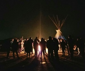 fire, gathering, and native american image