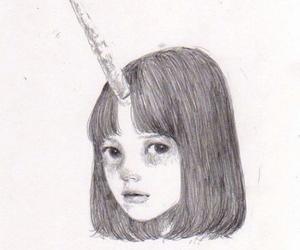 unicorn, girl, and black and white image