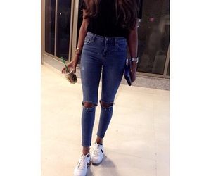 jeans, outfit, and starbucks image