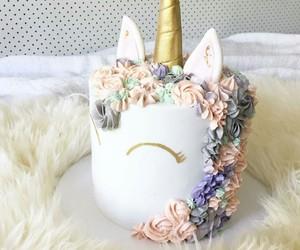 cake, flowers, and unicorn image