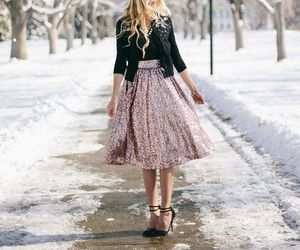 outfit, skirt, and snow image