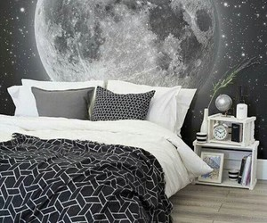 bedroom, moon, and room image