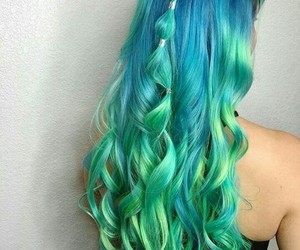 aesthetic, blue hair, and curly image