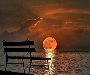 moon, sea, and sunset image