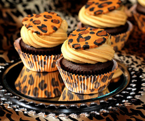 cupcake, food, and leopard image