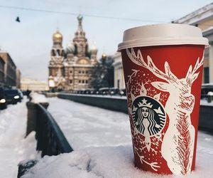 winter, snow, and starbucks image