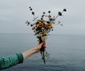 flowers, sea, and vintage image