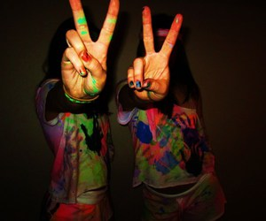 girl, peace, and paint image