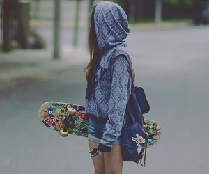 girl, skate, and skateboard image