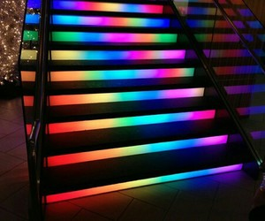 staircase, color, and lights image