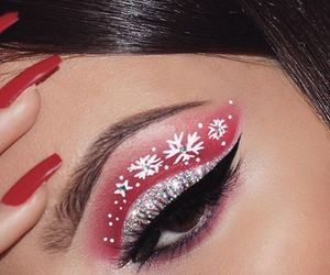 makeup, christmas, and red image