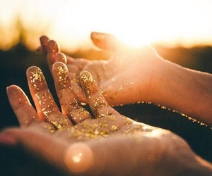 glitter, light, and gold image